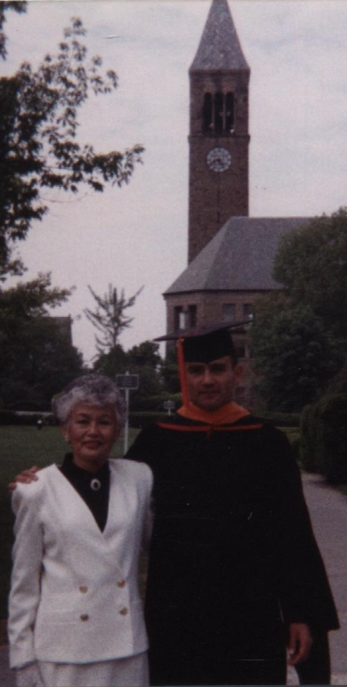1990, Graduation (with Mother), Cornell University Master of Engineering, Engineering Physics.